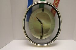 Heirloom Quartz Wall Clock Lucite & Glass Oval Shape Black 7 Gold Made in Taiwan