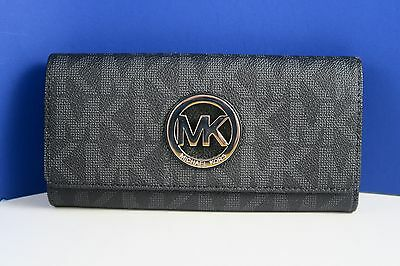 Michael Kors Fulton Flap Signature Mk Pvc Clutch Wallet Black