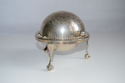 Art Deco Domed Revolving Butter Dish, Ashtray Vintage Silverplate, England