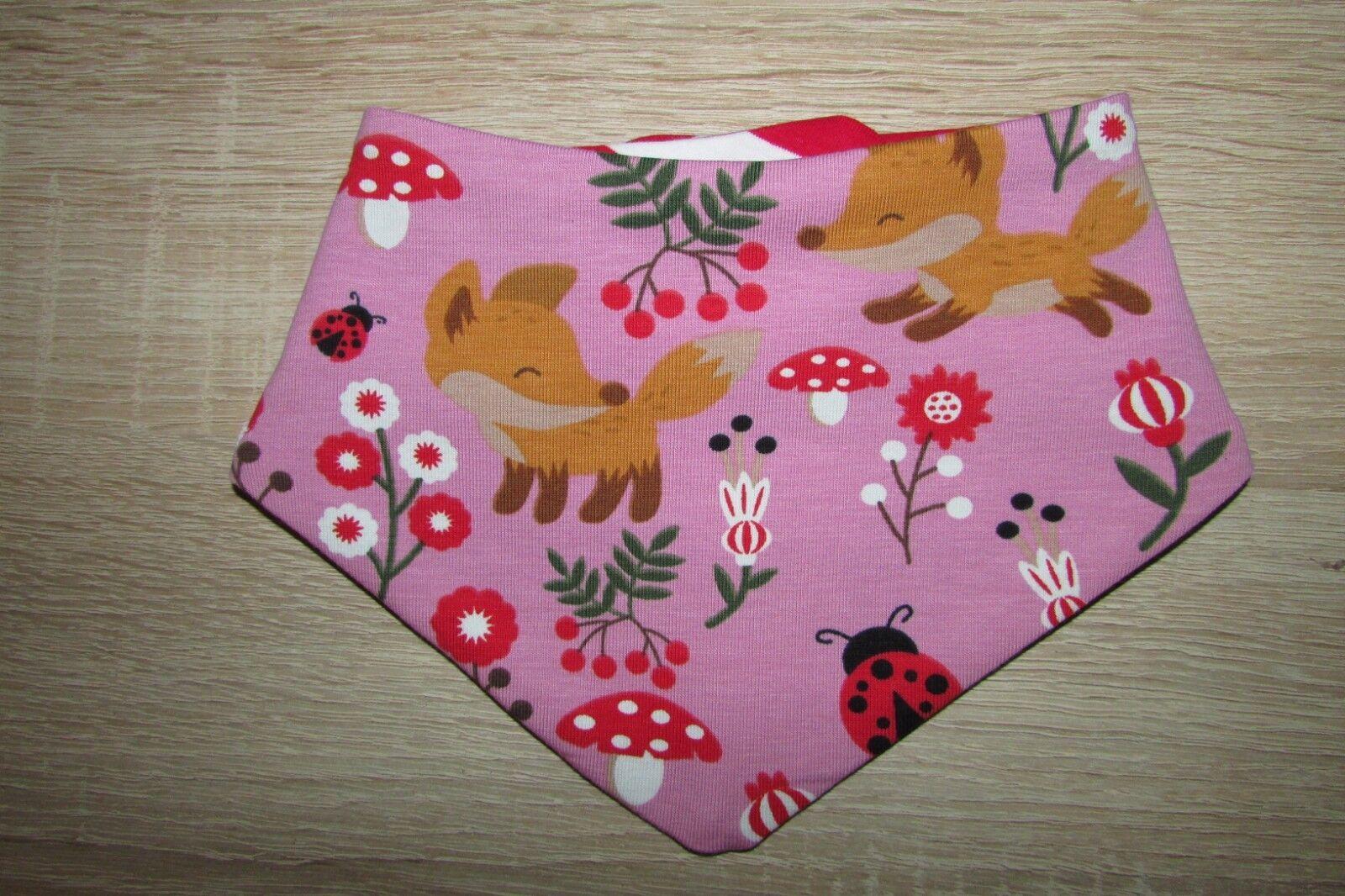 rosa Wende Halstuch/Nickituch mit Fuchs im Wald auf rosa 0-12  Monate Handmade