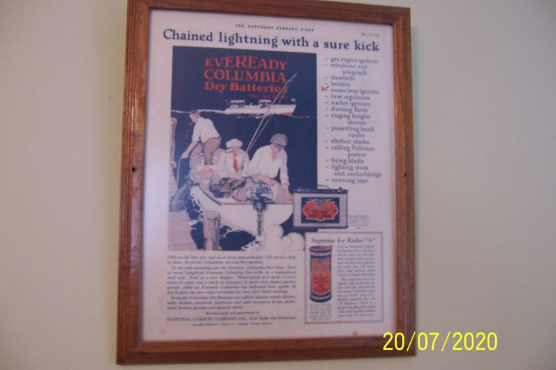 """EVEREADY COLUMBIA DRY BATTERIES MAY 30, 1925 AD FRAMED 12-1/2"""" X 15-1/2 X 3/4 """""""