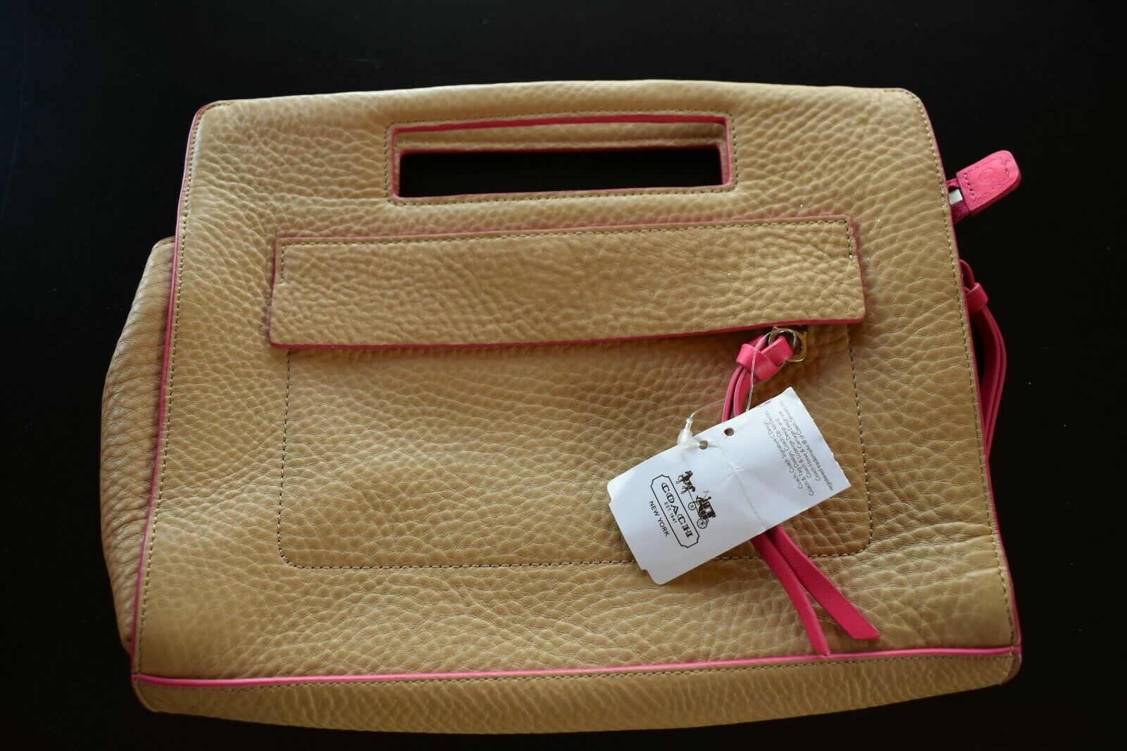 COACH BLEECKER  NWT CAMEL AND PINK RUBY CLUTCH 51635