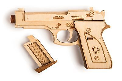 Wood Trick Gun Pistol Model Mechanical Wooden 3D Puzzle Self Assembly DIY Kit