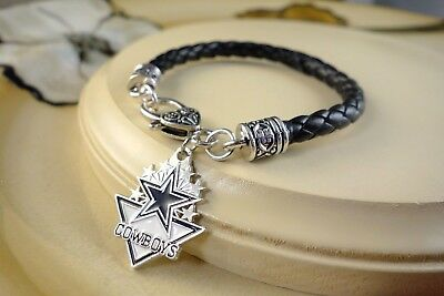 DALLAS COWBOYS I NFL football charm black leather sports gift bracelet jewelry](Dallas Cowboys Charm Bracelet)
