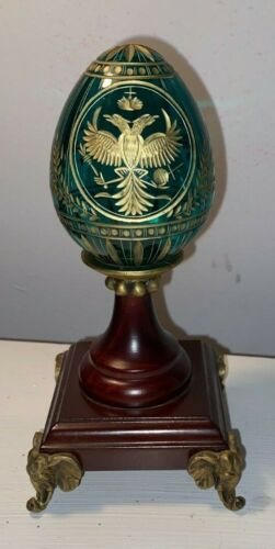 Vintage Russia St Petersburg  Faberge Egg Emerald Green Crystal Gold w stand