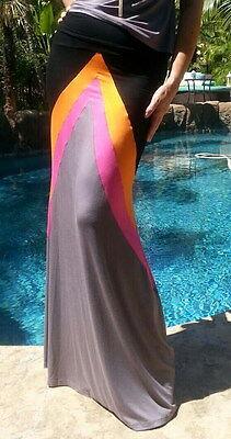 Maya Antonia Black-Grey-Pink-Orange Chevron Color-Block Maxi Skirt Extra Long](Pink Orange Color)