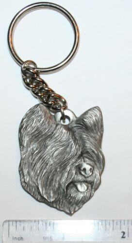 "Skye Terrier Rawcliffe Pewter ""I Love My Dog"" Vintage Keychain"