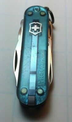 Victorinox Swiss Army Keychain Knife - Rambler - Cyan Light Blue Translucent