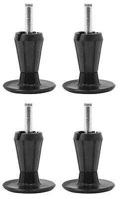 2-Piece Metal Stem Bed Frame Glides/Feet/Legs w/Socket Sleeves Black – Set of 4 Bed & Waterbed Accessories