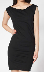 NEW-AMERICAN-APPAREL-Women-Cotton-Jersey-T-Shirt-Dress-BLACK-2386