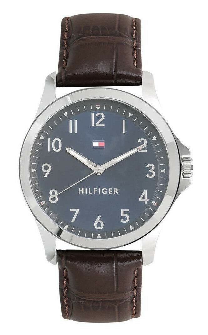 Tommy Hilfiger Analog Blue Dial Brown Leather Band Men's Watch 1791449 Jewelry & Watches