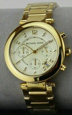 AUTHENTIC MICHAEL KORS PARKER GOLD CRYSTALS CHRONOGRAPH WOMEN'S MK5701 WATCH