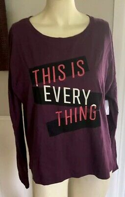Old Navy Ladies Medium shirt Burgundy This Is Everything Long Sleeve (Is Burgundy Purple)