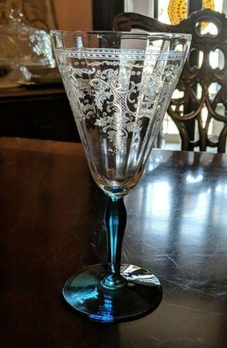 "Fostoria Etched ""Delphian Azure"" Electric Blue stem foot water Goblet Stemware"
