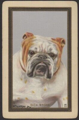 Playing Cards Single Card Old Named DICK STONE Bulldog Dog Art Painting Picture