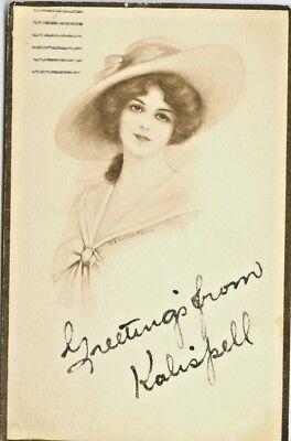 Kalispell MT Beautiful 1913 Woman Greetings from Kalispell for sale  Dayton