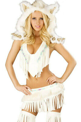 J Valentine White Indian Large CS220 Top and Skirt Rave Costume Halloween Native - Valentine Costume