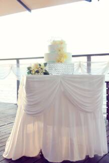 Bridal Table + Cake Table Skirts (to dress up the main tables)