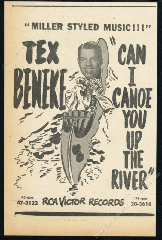 1950 Tex Beneke photo Can I Canoe You Up The River vintage trade print ad
