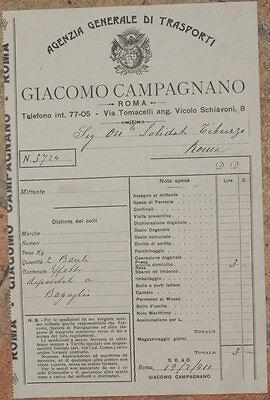 FATTURA GIACOMO CAMPAGNANO DEPOSITO BAGAGLI BAULI 1911 TRASPORTO ROMA BAGGAGE