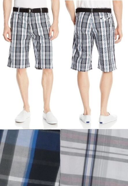 Southpole Young Mens Shorts Plaid Belted Cotton Flat Front Size 29 ...