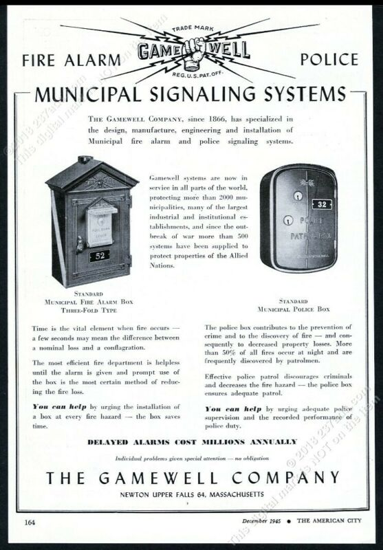 1945 Gamewell police phone call box & fire alarm box photo trade print ad