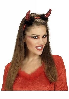 RED DEVIL HORNS HEADBAND Halloween Ladies Girls Fancy Dress Accessory Sequin](Sequin Devil Horns)