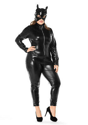 Plus Size Catwoman (Plus Size Faux Leather Wetlook Catwoman Catsuit Jumpsuit Cosplay Fancy)