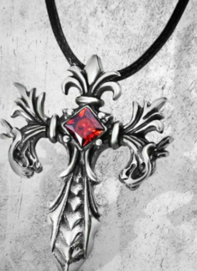 Jewellery - Fashion Gothic Heart Cross Necklace Chain Pendant Jewellery Vintage UK