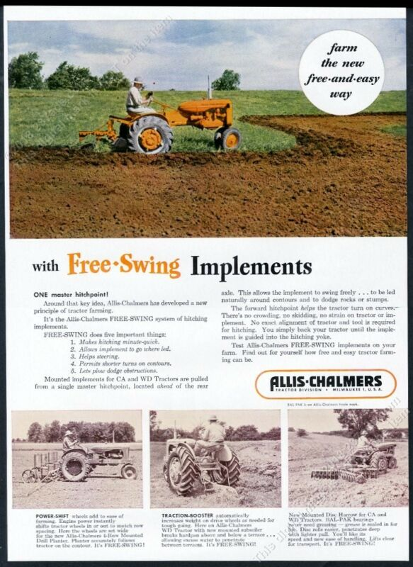 1952 Allis Chalmers tractor Free Swing implements farm photo vintage print ad