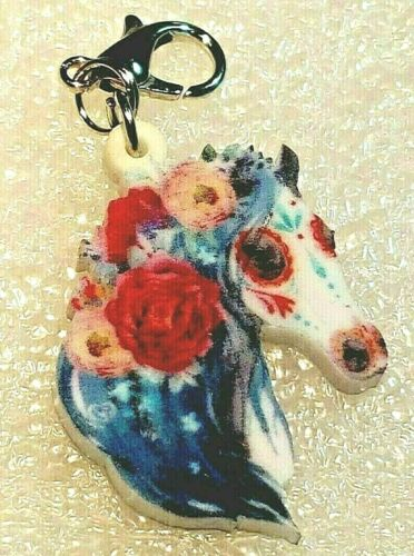 Horse Sugar Skull Floral Double-Sided Acrylic Purse Charm Zipper Pull Jewelry