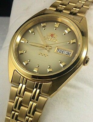 New  Orient Automatic Watch Men Gold Tone  Brown  Dial orient box