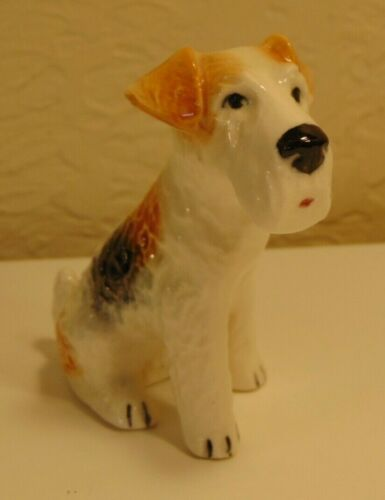 """Vintage Ceramic Dog Figurine Wire Haired Fox Terrier 3.75"""" Tall Japan"""