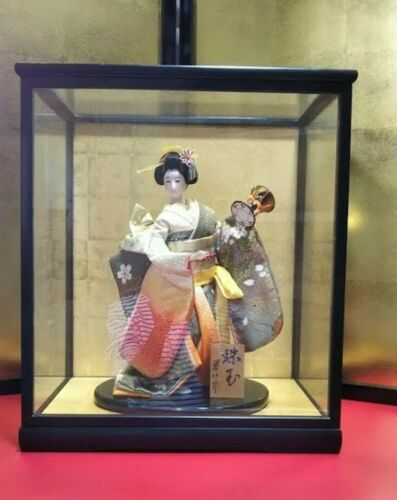 Vintage Japanese Geisha doll in Kimono in Glass Case Antique EXCELLENT