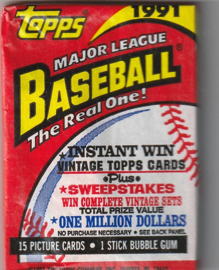1991 Topps Baseball Pack - 15 Cards - Rookies - Record Breaker - $0.99