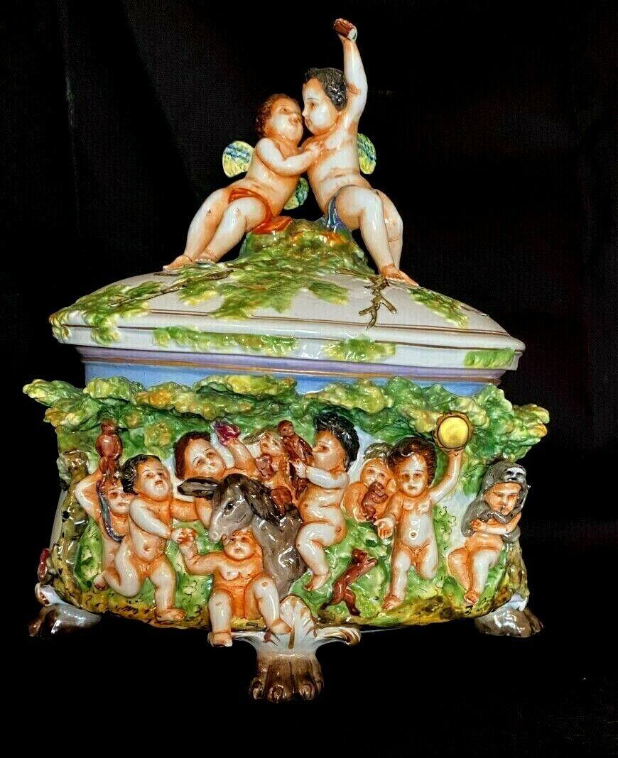 CAPODIMONTE Cherub Putti Nude Angel Lidded Box Footed Bowl Trees Animals Vase - $129.00