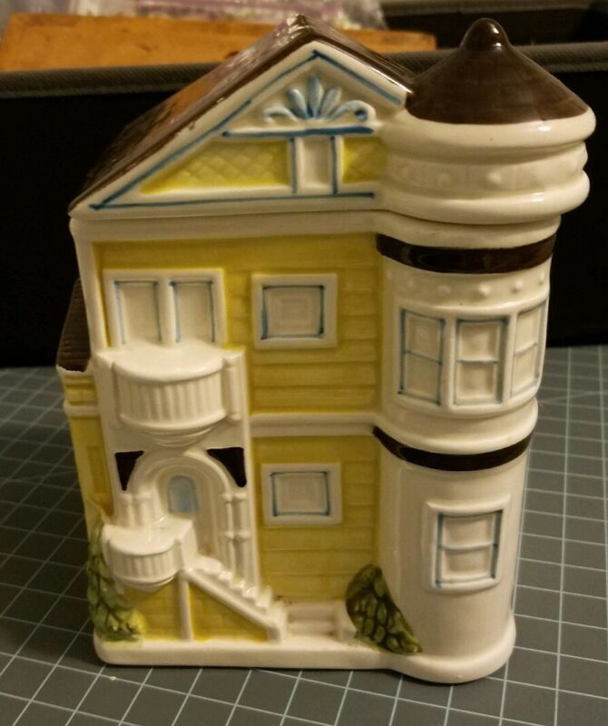 "Otagiri Yellow Victorian House  6"" Small Canister Vintage Kitchen"