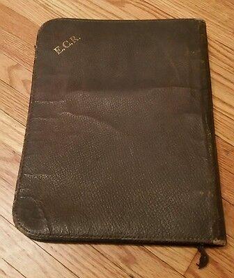 Vtg Leather Trapper Binder File Folder 1940s Talon Zipper Student Lawyer Doctor