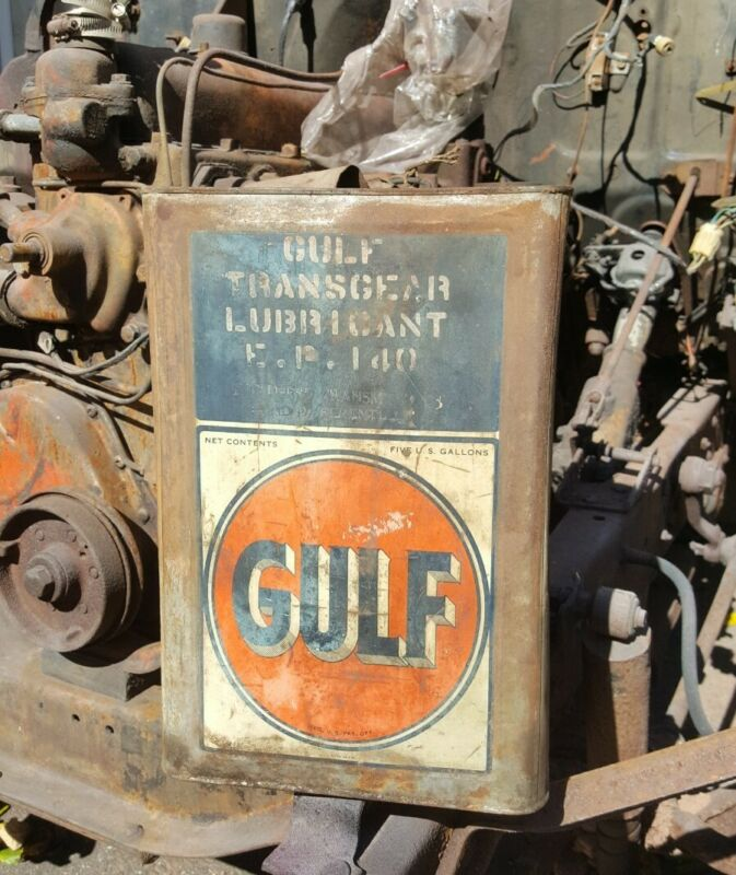 VINTAGE GULF TRANSGEAR LUBRICANT SQUARE 5 GALLON OIL CAN ADVERTISING