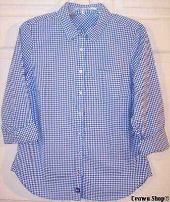 Nwot New J  C  Penney Jcp Ls Blue Gingham Check Shirt Blouse Top  M Or L