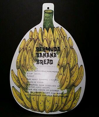 Vtg Bermuda Banana Bread Recipe Cutting Board Wall Hanging Made In England