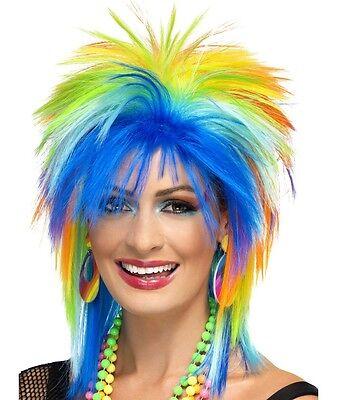 Damen 80s Jahre 1980s Rainbow Punk Kostüm Perücke in einzelhandelverpackung