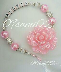 ❤ Bling Personalised Girls Dummy Clip Shamballa&Crystal Glitter Flower Roamay!❤