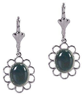 Green Jasper Cabochon Oval Silver Dangle Fashion Earrings Grace Of New York