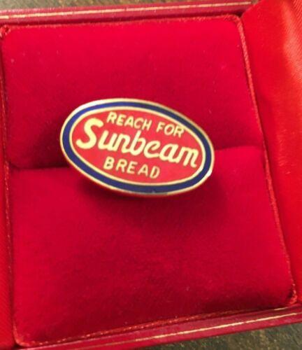 Vintage REACH FOR SUNBEAM BREAD Lapel Pin Advertising Enamel Red Blue - Estate