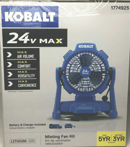 ✓ NEW Kobalt 24V 7-in 3-Speed Indoor/Outdoor Misting Stand Fan +Battery +Charger