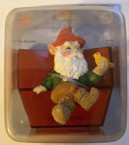 Gnome W/bird Lawn Garden Patio Figurine Pot Lampshade Perche