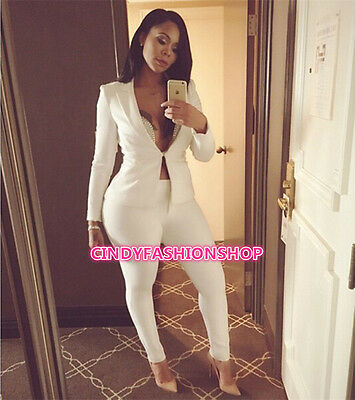 New Sexy 2PC Set Bodycon Suit Casual Long Jumpsuit Rompers Outfit Jumpsuit Long Romper Set