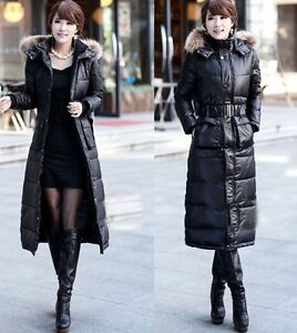 New Women's Winter Super Long Duck Down Jacket Faux Fur Collar Hood Parka Coat