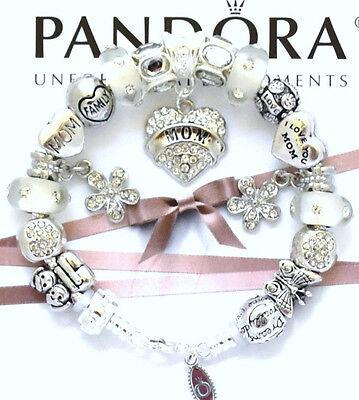 Authentic PANDORA 925 Charm Bracelet MOM Love Heart Family European Charms New